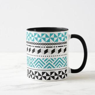 Mug Aztèque moderne géométrique tribal de noir et