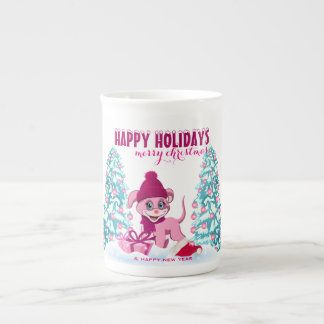 Mug Bande dessinée adorable de chiot de Noël rose