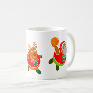 Mug Bande dessinée d'amusement de Père Noël et Rudolph