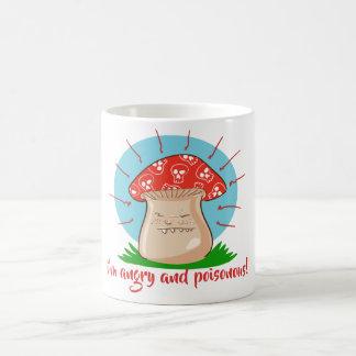 Mug bande dessinée drôle de champignon fâché