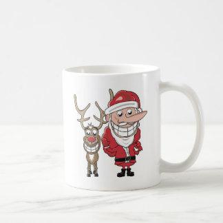 Mug Bande dessinée drôle Père Noël et Rudolph