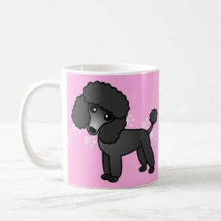 Mug Bande dessinée noire mignonne de caniche -