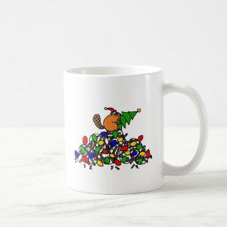 Mug Barrage drôle de Noël de castor avec des lumières