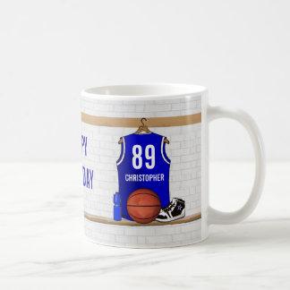 Mug Basket-ball bleu et blanc personnalisé Jersey