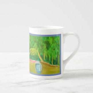 Mug Bateaux dans l'aquarelle d'étang du jardin de