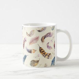 Mug Beau motif de plumes d'aquarelle