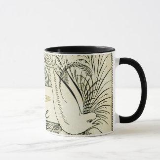 Mug Belle colombe blanche vintage entourée par le