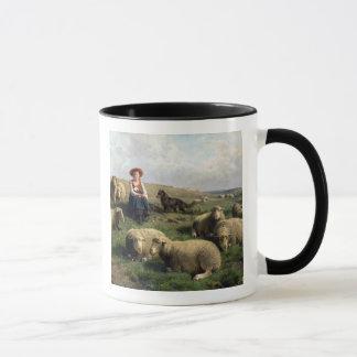 Mug Bergère avec des moutons dans un paysage