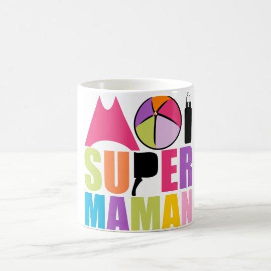 Mug blanc 325 ml Moi Super Maman - Logo Rose