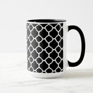 Mug Blanc sur Quatrefoil noir