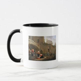 Mug Blanchisseuses par une fontaine romaine
