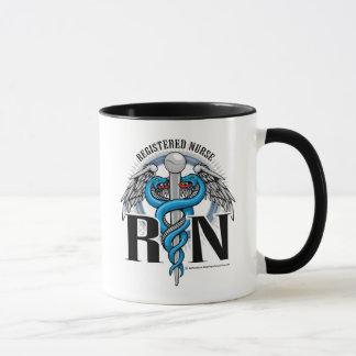 Mug Bleu de caducée de RN