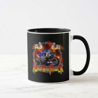 Mug Bleu de camion de monstre sur le feu