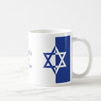 Mug Bleu et blanc de Mitzvah de barre d'étoile de