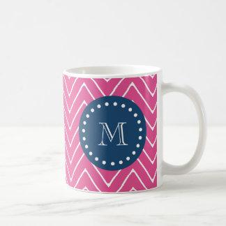 Mug Bleu marine, motif de Chevron de roses indien,