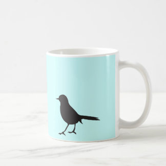 Mug Bleu noir et blanc d'oiseau de moineau de