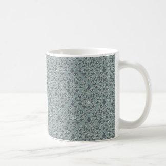 Mug Bleu Teal de crème de motif de damassé de rouleau