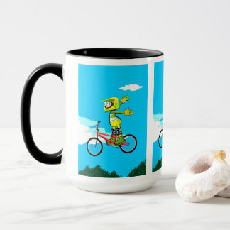 Mug BMX enfant dans sa bicyclette en levant vol