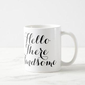 Mug Bonjour là beau avec manuscrit noir/blanc