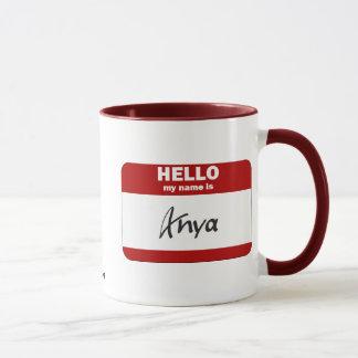 Mug Bonjour mon nom est Anya (rouge)