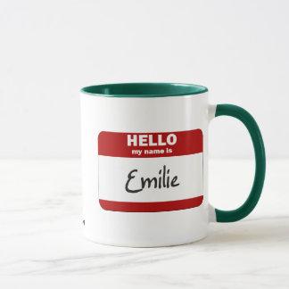 Mug Bonjour mon nom est Emilie (rouge)