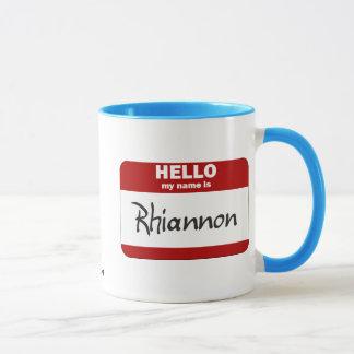 Mug Bonjour mon nom est Rhiannon (rouge)