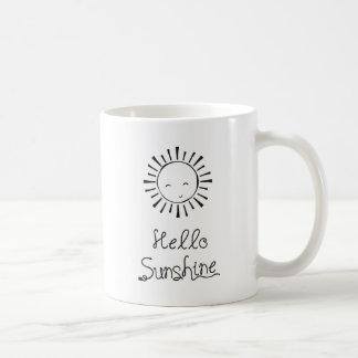 Mug Bonjour soleil marqué avec des lettres par main