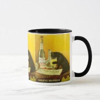 Mug Bourgeois d'absinthe et poster vintage fin de chat