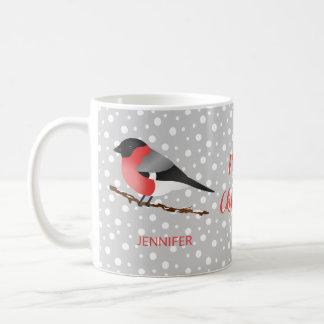 Mug Bouvreuil eurasien et nom d'oiseau mignon de Noël