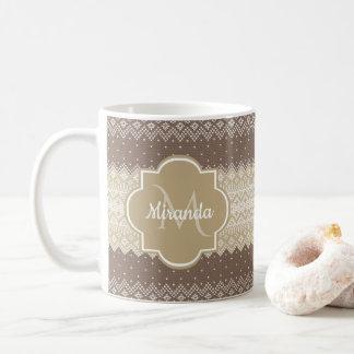 Mug Brown neutre et motif bronzage de Knit avec le nom