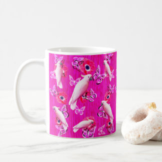 Mug Cacatoès blancs, papillons et pavots roses,