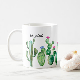 Mug Cactus mignon d'aquarelle personnalisé