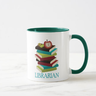 Mug Cadeau mignon de bibliothécaire de pile de livre