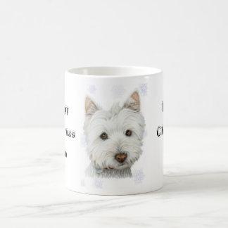 Mug Cadeaux mignons de chien de Westie de Noël