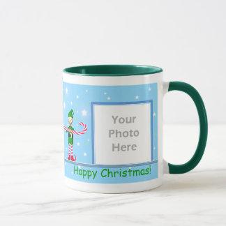 Mug Cadre bleu d'Elf 2-Photo de sucre de canne de Noël