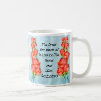 Mug Café chaud, roses