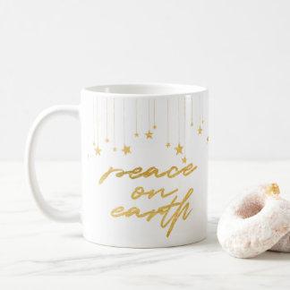 Mug Café en lettres de vacances de main d'or de la