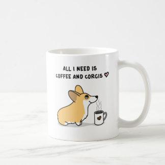 Mug Café et Corgis [blanc rouge]