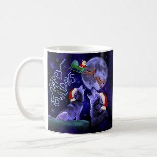 Mug Calembour drôle Howlidays heureux de loup de Noël