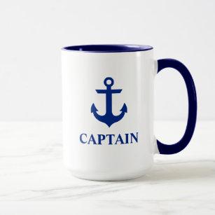 Mug Capitaine nautique Anchor Large Blue et blanc