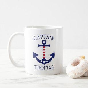 Mug Capitaine patriote Add Name d'Ancre nautique