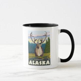 Mug Caribou dans le sauvage - Fairbanks, Alaska
