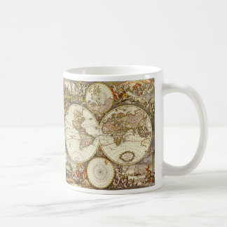 Mug Carte antique du monde, C. 1680. Par Frederick de