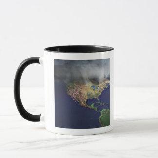 Mug Carte de l'Amérique du Nord avec le brouillard