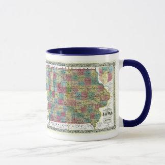 Mug Carte de l'Iowa et drapeau d'état