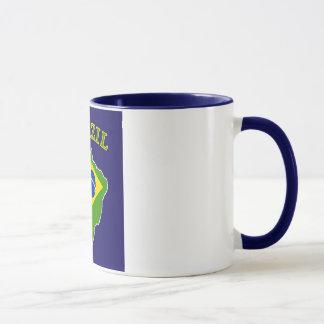 Mug Carte/drapeau du BRÉSIL sur l'arrière - plan de