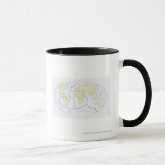 Mug Carte du monde montrant des marges de plat