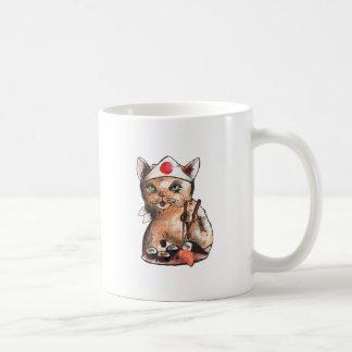 Mug cat eating sushi