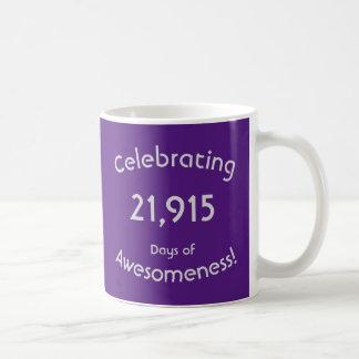 Mug Célébration de 21.915 jours d'anniversaire