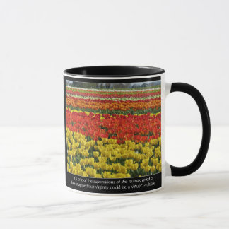 Mug Champ de tulipe et citation de Voltaire